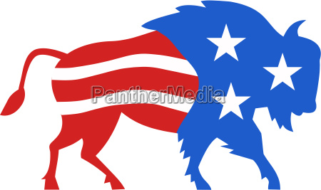 north american bison usa flag retro