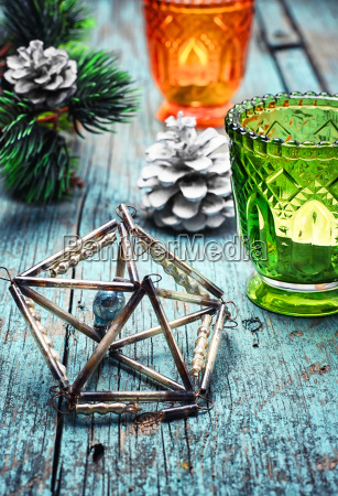christmas decoration with candle holder