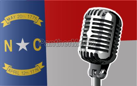 north carolina flag and microphone