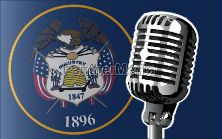 utah flag and microphone