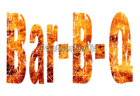 bar bq text in flames