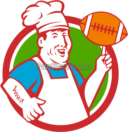 fat chef cook twirling football circle
