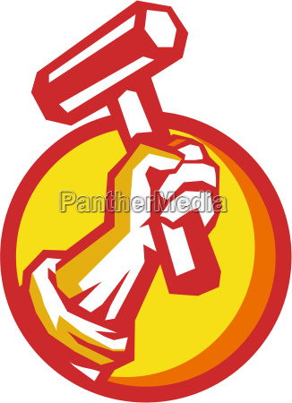 union worker hand holding hammer circle