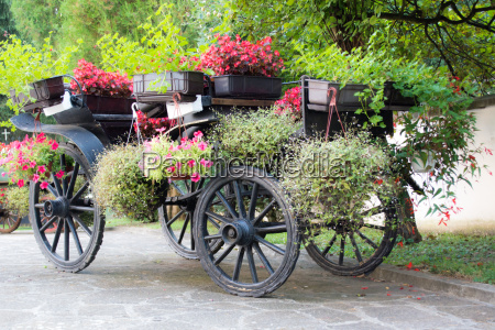 old rustic wooden rural carriage with