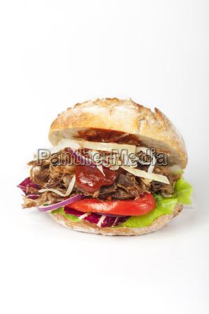 pulled pork in a bun on