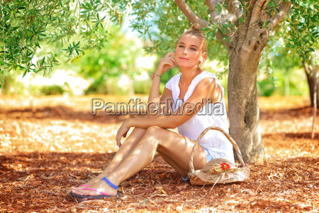beautiful woman in olive garden
