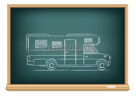 trailer drawn on blackboard