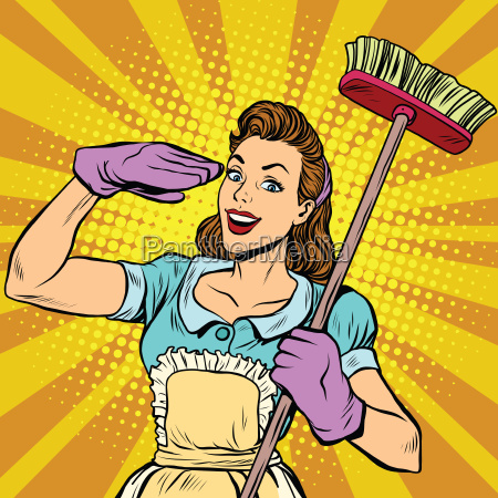female cleaner cleaning company pop art