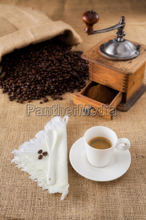 coffee with mill and beans on