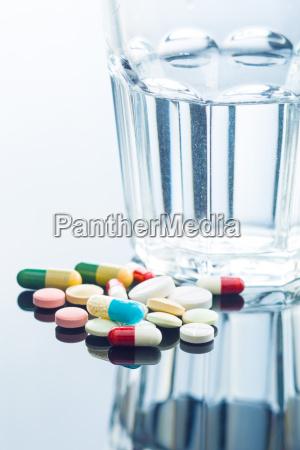 rozne tabletki i szklanke wody