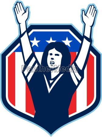 female american football fan shield shield
