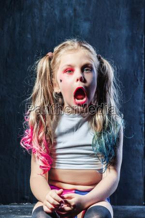 the funny crasy girl on dark