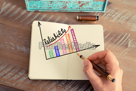 business woman drawing a colourful reliability