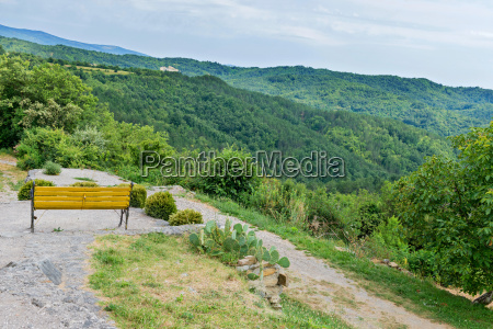 bench with beautiful mountain forest scenery