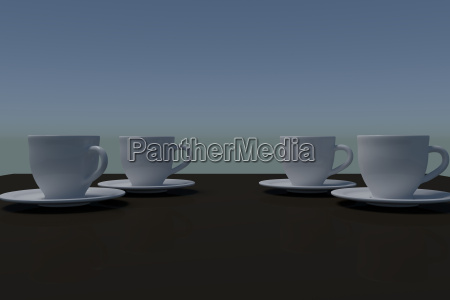 3d rendering of white coffee cups