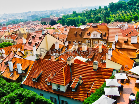 view from above to tiled roofs
