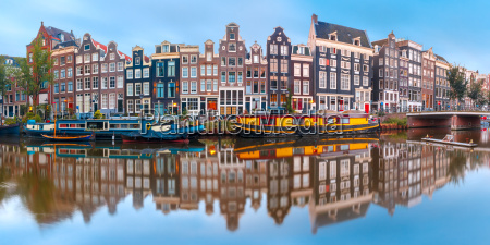 amsterdam canal singel with dutch houses