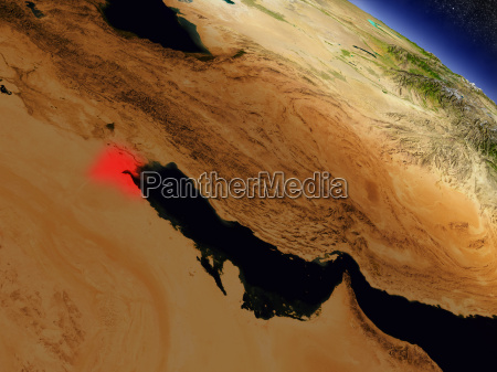 kuwait from space highlighted in red