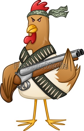 chicken fighter with a shotgun