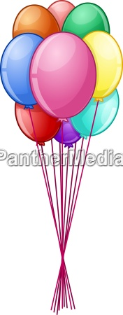 colorful balloons on string