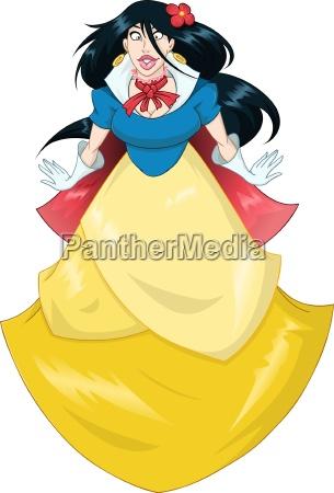 princess snow white in blue yellow