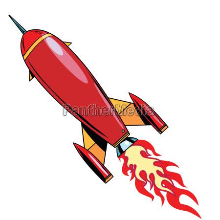 retro rocket soars up