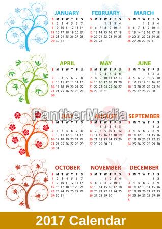 2017 calendar tree