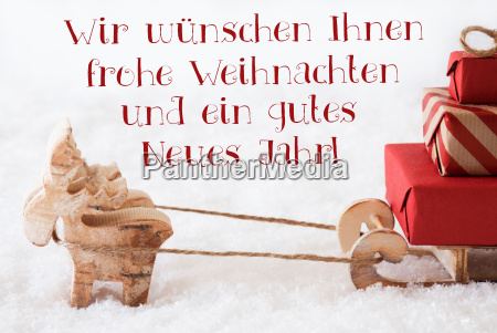 reindeer with sled frohes neues jahr