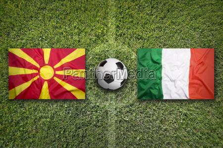 macedonia vs italy flags on soccer