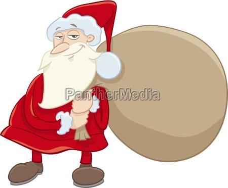 santa and gifts cartoon