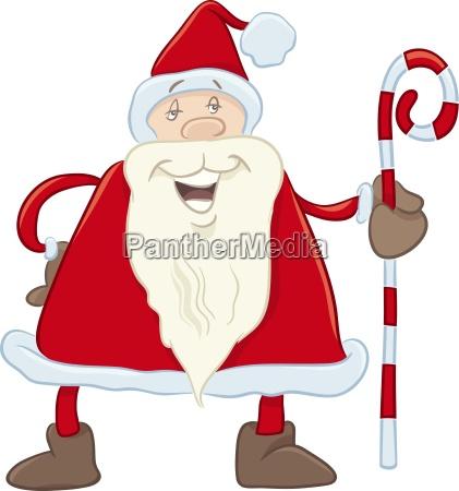 santa with cane cartoon