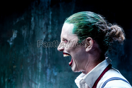 bloody halloween theme crazy joker face
