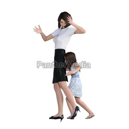 mother daughter interaction of girl pushing