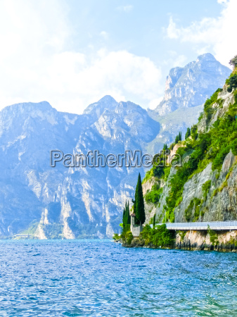 high mountains and walkway on the