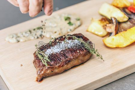 succulent peppered steak