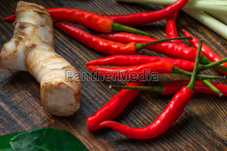 mini chili peppers with galangal root