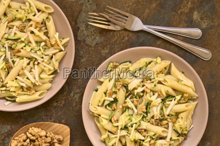 pasta with zucchini ham and walnut