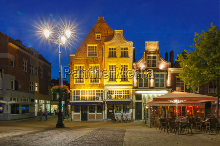 markt square at night in delft