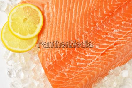 filete de salmon crudo en hielo