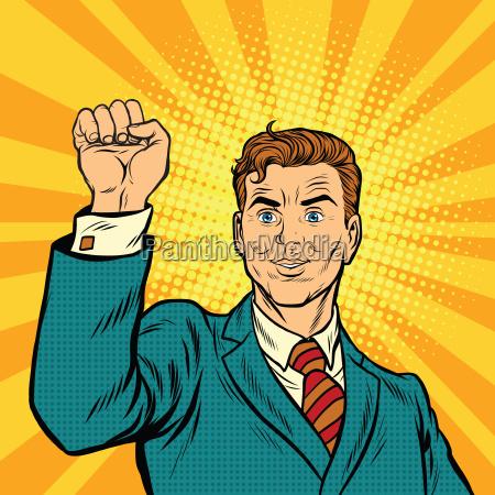 businessman with fist pop art protest