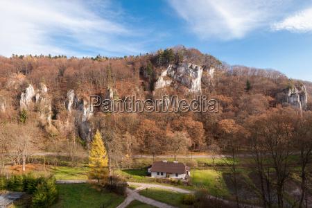 autumn rocky landscape of ojcow national