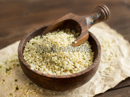 uncooked hemp seeds in a bowl