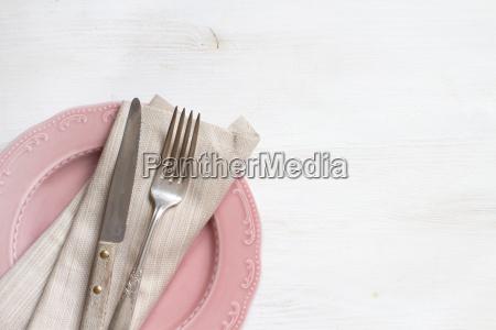 vintage, fork, and, knife, with, napkin - 18980175
