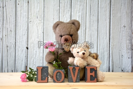 two teddy bears with roses and