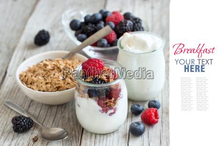breakfast with fresh greek yogurt muesli