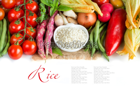 white rice in bowl and fresh