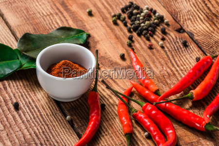 different spices scattered on wooden table