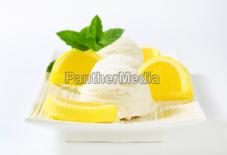 lemon ice cream with jelly candy