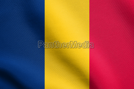 flag of chad waving with fabric