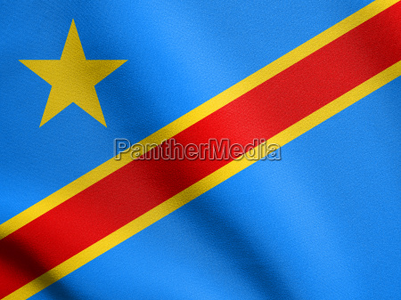 flag of dr congo waving with